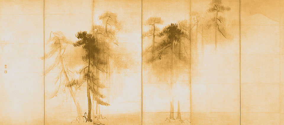 Hasegawa Tohaku: Borovicové stromy, grafický dizajn