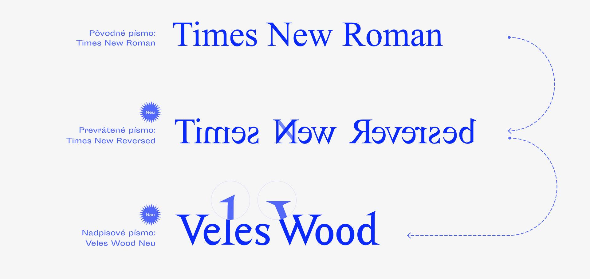 Veleswood písmo, grafický dizajn